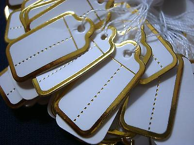 100 Gold Foil Paper Jewelry Price Tags Write On Labels Attachment String Pt004