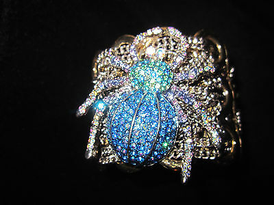 BETSEY JOHNSON BLING BLUE SPIDER LUXE WITH WEB STATEMENTBRACELET