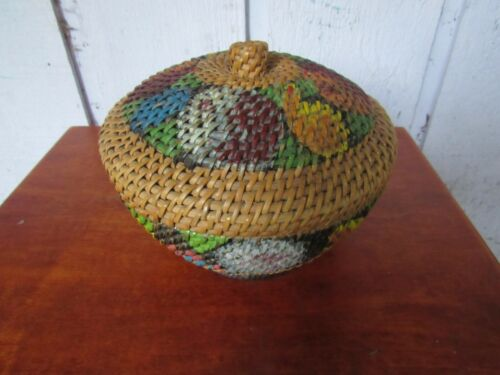 MOST CHARMING ANTIQUE LIDDED BASKET WITH PAINTED FLOWERS JAPANESE?