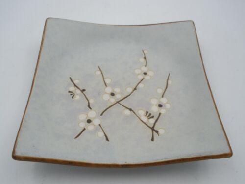 RARE Vintage Sakura Japanese Cherry Blossoms Blue Square Plate 5.5x5.5 Stamped