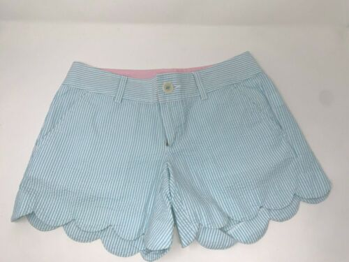 Lilly Pulitzer Buttercup Shorts sz 00 Blue White Stripe Seersucker Scalloped Hem
