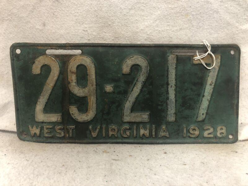 Vintage 1928 West Virginia License Plate
