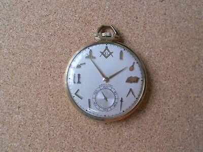 Hamilton Masonic Dial Pocket Watch 10K gold filled, No 917, 17 j, 3 Adjustments