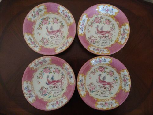 Minton Cockatrice Pink China Soup/Cereal Bowls (Set of 4) 1873-1912