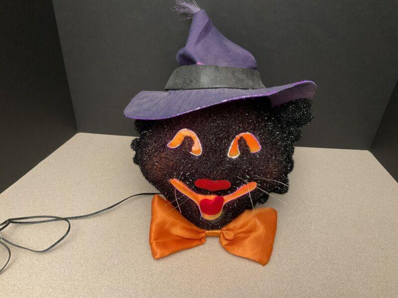 VINTAGE Dept 56 Halloween Black Cat Color Changing FIBER OPTIC  #36902