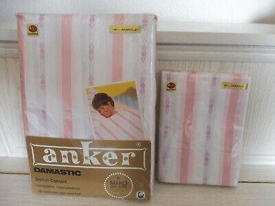 2 Mako Brokat Damast Bettbezüge 160x200 cm u. 2 Kissen 80x80 cm 70er Jahre