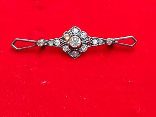 Antique 14k Gold Rose Cut diamond Brooch