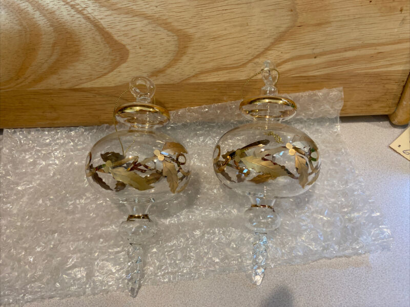 2 Vintage Christmas Ornaments Blown Glass Clear Hand Made Gold Trim 6""