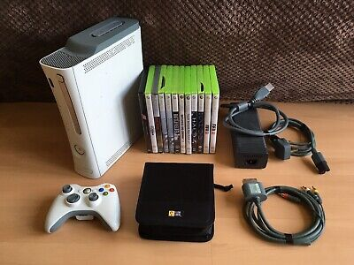 Microsoft Xbox 360 Console With Games, Cables, Hard Drive & Disc Case Bundle