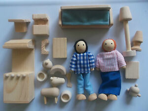 Wooden Dolls House People With Wooden Furniture, Dolls House Accessory Set.