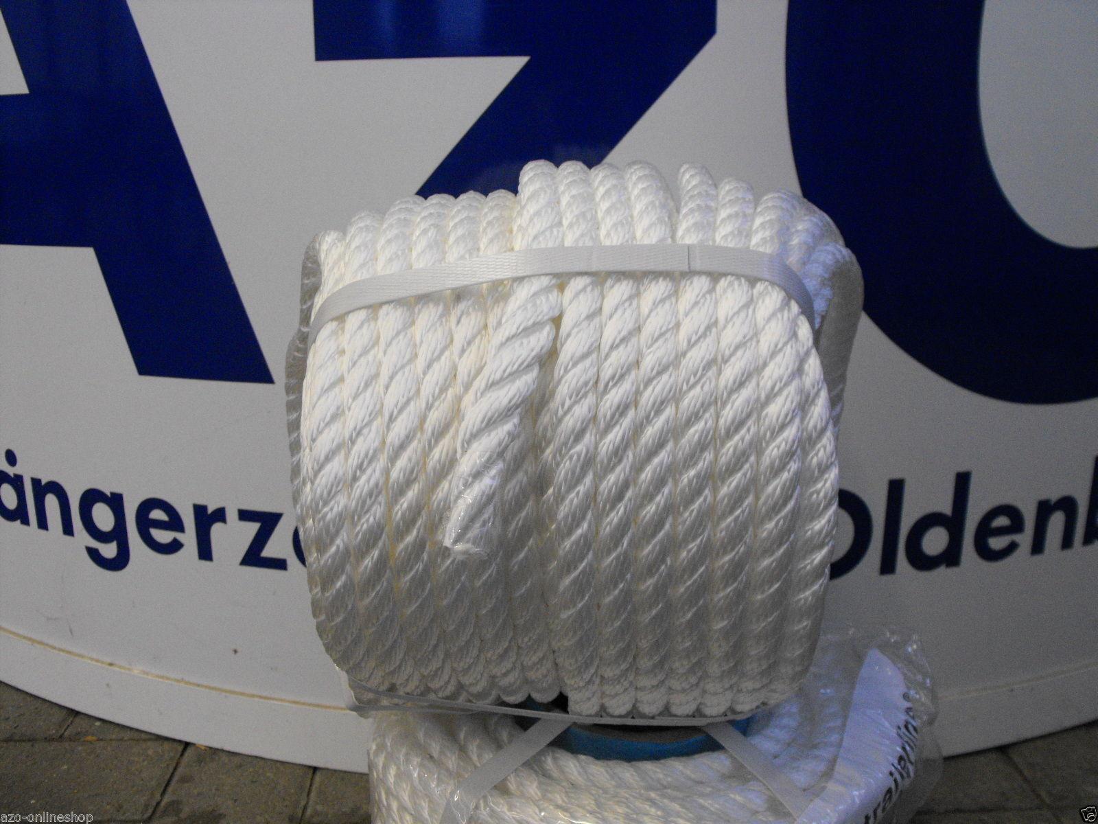 Festmacherleine, Tau, Seil, Ankerleine * 12 mm * 40 m Rolle *weiß* für Boote