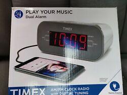 NIB Timex AM/FM Dual Alarm Clock Radio Large # Red Display Aux in Digital Tuner