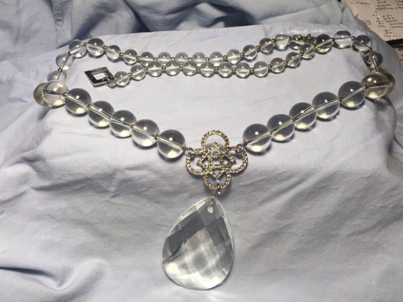 "Valeska 28"" Glass Bead & Crystal Pendant Necklace"