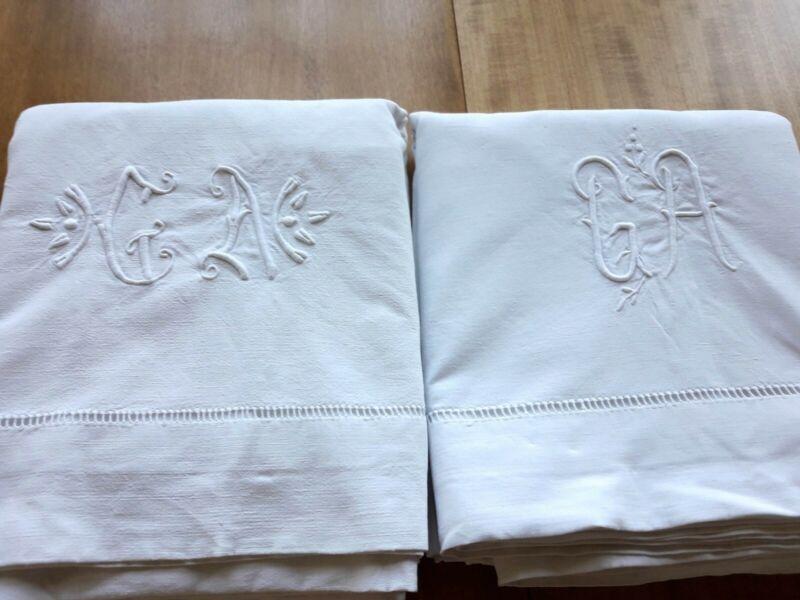 2 Monogram GA Linen Cotton Sheets GREAT DRAPES 78x112 Same Dowry Vintage French