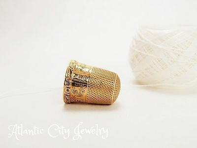 ANTIQUE 14K GOLD HANDMADE AND ENGRAVED DESIGN, SEWING THIMBLE, SIZE 8