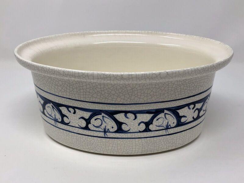 "Dedham Pottery Potting Shed 10"" Oval Casserole Dish Bunny Rabbit No Lid"