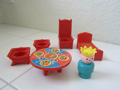 Fisher Price Little People Vintage #993 Castle Red Pieces + Wood Prince Lot of 6