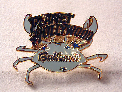 Planet Hollywood Baltimore Lapel Pin Maryland MD Blue Crab Enamel Stars Food Ad