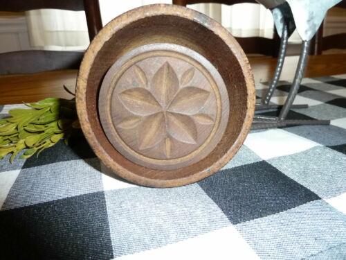 EARLY-MID 19TH C AMERICAN ANTIQUE PRIMITIVE CARVED WOOD BUTTER MOLD STAMP PAT