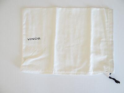 Brand New Vince shoe Dust bag White cotton + Black lettering drawstring