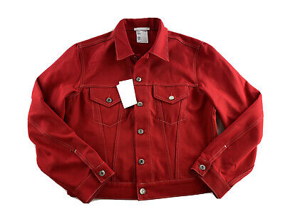 $495 Helmut Lang Masc Trucker Jacket Unisex Red Small Man Large Woman Cotton