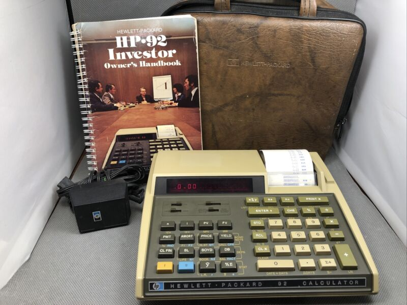 """HP-92 """"Investor"""" Financial Printing Calculator with Manual, Case and Charger"""