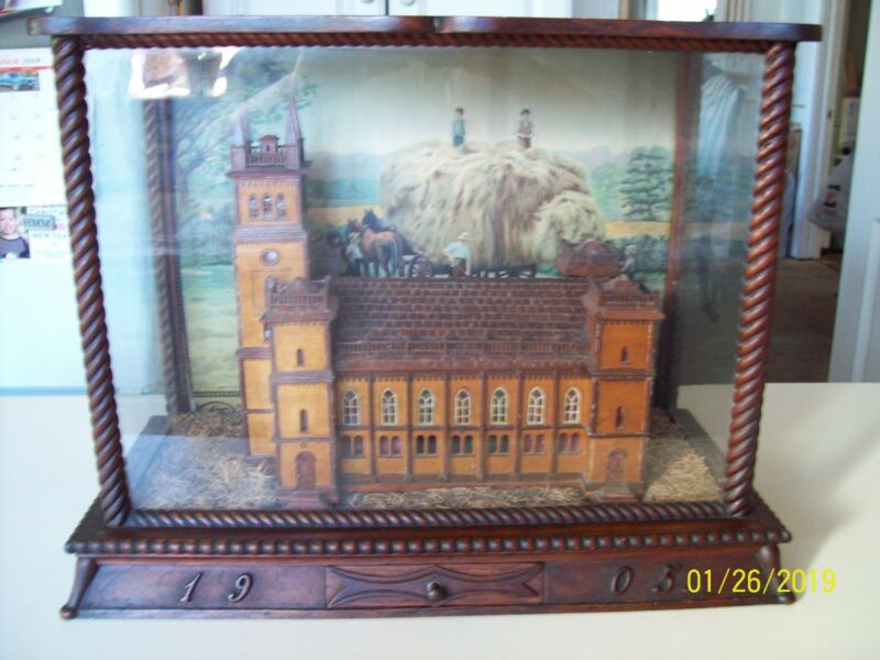 Antique Vintage Hand Made Wood Church Diorama ~ circa 1905 ~ Denmark