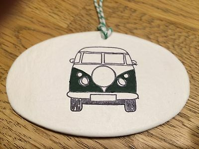 Beautiful Handmade Clay Hanging Green  VW Camper Van Decoration/gift Tag New