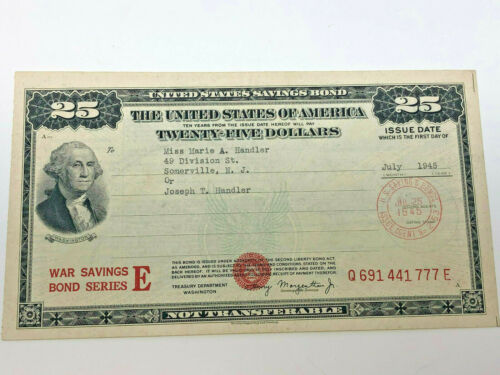 1945 US WAR $25 Savings Bond, Series E, WWII, Issued by the War Dept.