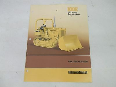 International Harvester 100e Pay Loader Specifications Brochure