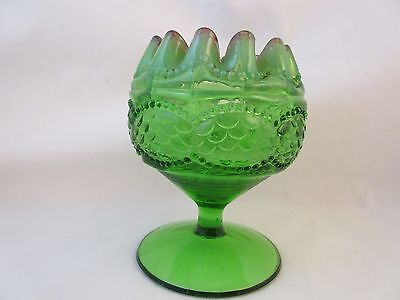 Jefferson Glass Co  Pearls   Scales Ftd Rose Bowl Green With Red Trim