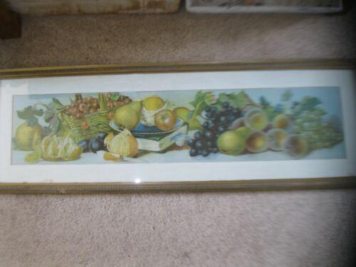 ANTIQUE YARD LONG ART FRUIT in ORIGINAL FRAME & WAVY GLASS