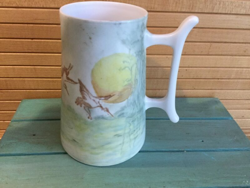 Antique Bavaria Japanese Cranes Tankard, Mug EUC