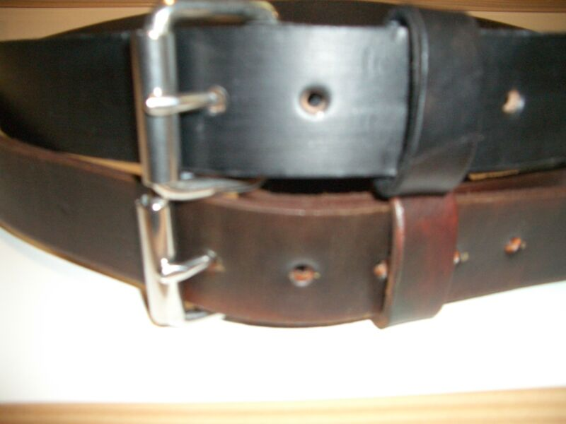 "Leather Work Belt Heavy Duty Amish Tool.holster.gun Hand Made Men Women 1.1/2"" W"