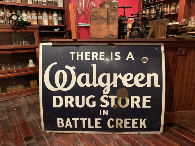 ~RARE~ Vintage BATTLE CREEK WALGREEN Pharmacy Drugs  Porcelain Advertising Sign