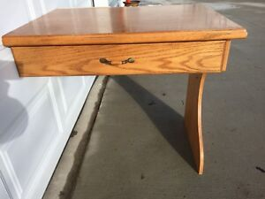 Wooden Desk with Drawer. Goes against wall. Solid wood