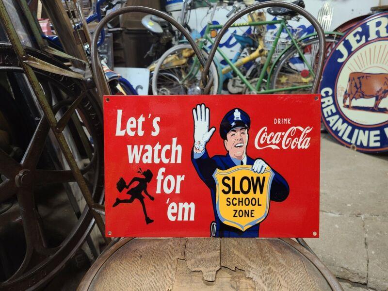 Coca-Cola slow school zone Sign Soda Fountain drink store pop