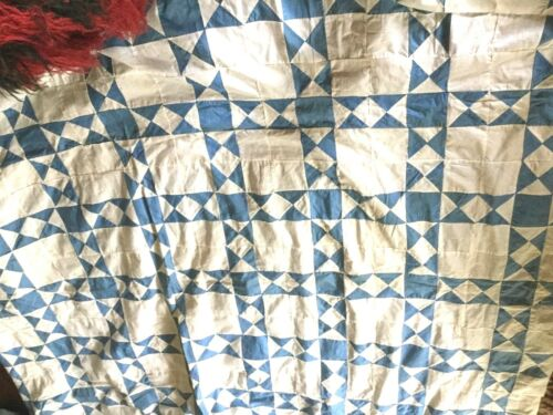 Vintage handmade  quilt top wonderful finished in very old pieces of