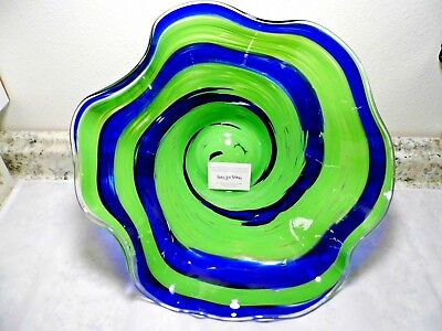 "GLASS EYE STUDIO ~ SUNDAY BLUE 15"" LARGE CUSTOM GLASS ART FLOPPY BOWL  ~ NEW"