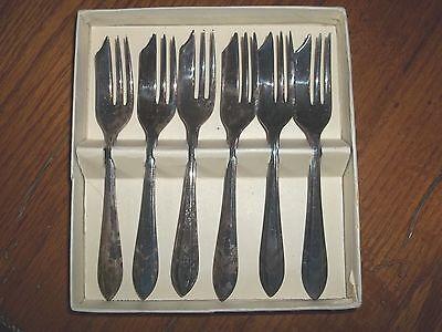 Antique MS Ltd Sheffield England ESPN Silver Set 6 Oyster Pastry Forks