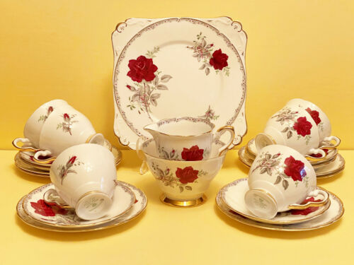 "Royal Stafford ""Roses to Remember"" 21 Piece Tea Set - Made in England c 1952"