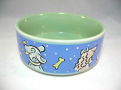 "Raining Bones Dog Food Bowl Dish 7"" Blue Green Stoneware Ceramic"