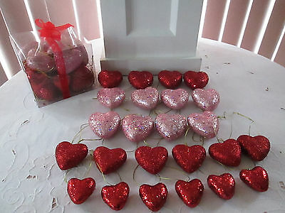 24 pc. Assorted Red & Pink Lavender Glitter Heart Valentines Day Ornaments,  NIB