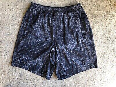 """Lululemon Men's Pace Breaker Shorts Large Grey Houndstooth 9"""" Green Liner"""