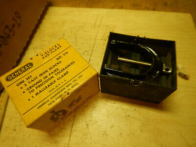 Vintage Usa General V Block Set W Clamp In Box Machinist Tool Jig Fixture