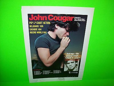 John Cougar Vintage CashBox Magazine 1979 Framable Artwork With Tour Dates
