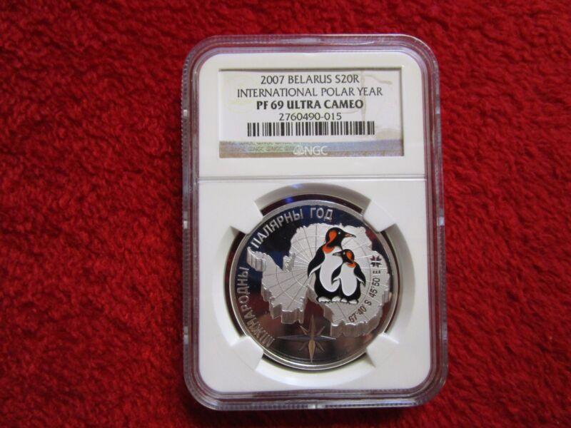 Belarus Penguin International Polar Year NGC PF 69 1 oz Color Silver Coin pcgs