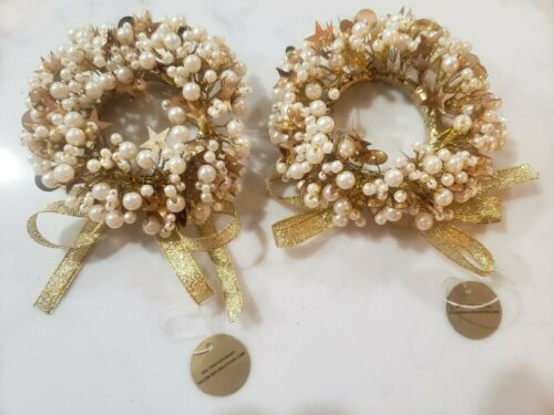 2 SALZBURG CREATIONS Handcrafted Gold with Pearls Holiday Candle Rings_NWT
