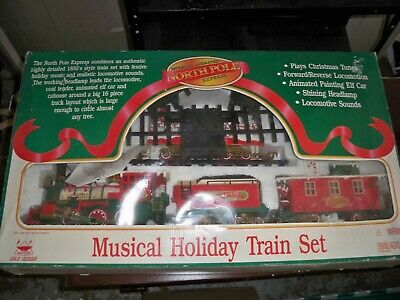 Musical Animated North Pole Express Christmas Holiday Train Set 1997 New Bright