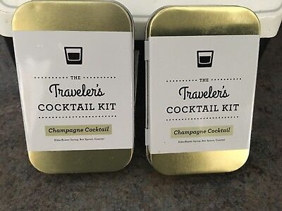TRAVELERS Cocktail Kit Champagne Elder Flower Syrup Spoon Coaster 2 Kits (T28)  - Elderflower Cocktail